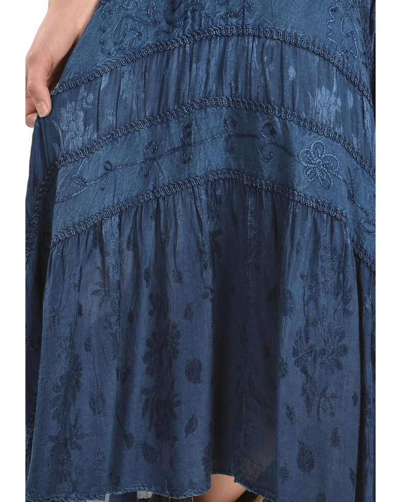 Scully Women's Lace-Up Jacquard Dress, Blue, hi-res
