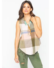 Shyanne Women's Plaid Button-Up Sleeveless Top, Multi, hi-res