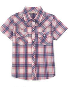 Cumberland Outfitters Girls' Pink Plaid Snap Short Sleeve Western Shirt, Pink, hi-res