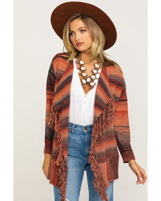 Angie Women's Clay Stripe Drape Fringe Cardigan, Rust Copper, hi-res