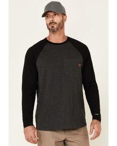 Hawx Men's Dark Grey Original Baseball Crew Long Sleeve Work T-Shirt , Dark Grey, hi-res