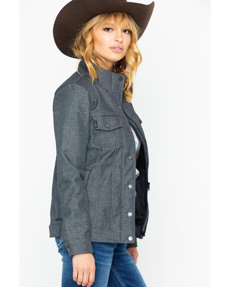 Cinch Women's Grey Solid Textured Softshell Trucker Jacket , Grey, hi-res