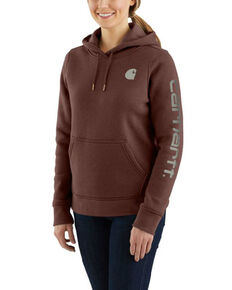 Carhartt Women's Clarksburg Sleeve Logo Sweatshirt, Brown, hi-res
