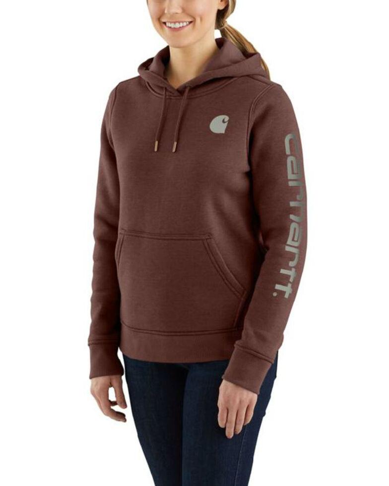 Carhartt Women's Clarksburg Sleeve Logo Sweatshirt, Brown, hi-res