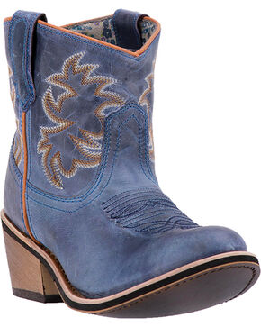 Laredo Women's Sapphyre Leather Western Booties - Round Toe, Navy, hi-res