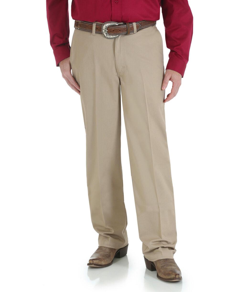 Wrangler Men's Riata Flat Front Relaxed Casual Pants, Khaki, hi-res