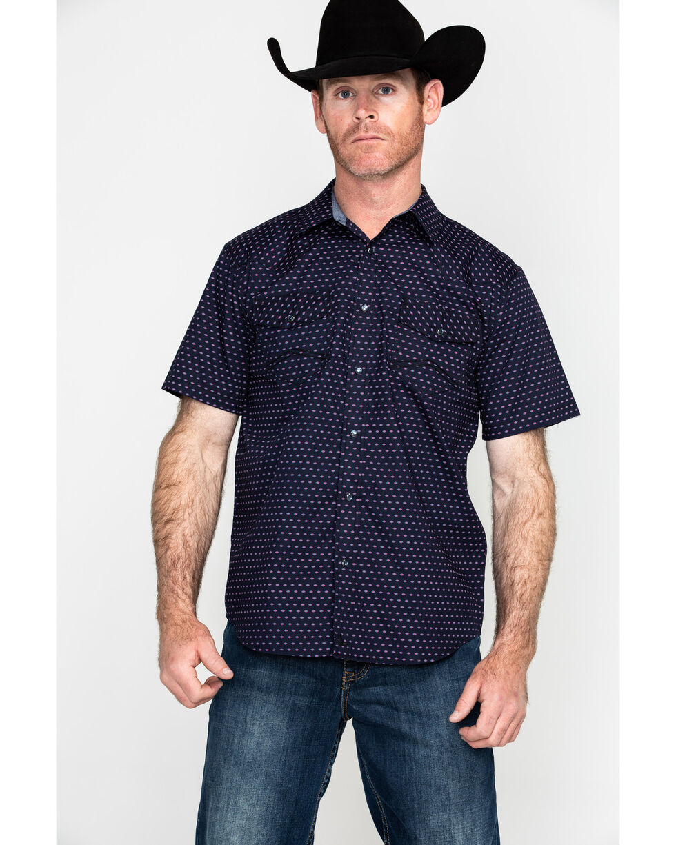 Cody James Men's Scalene Geo Print Short Sleeve Western Shirt - Tall, Navy, hi-res