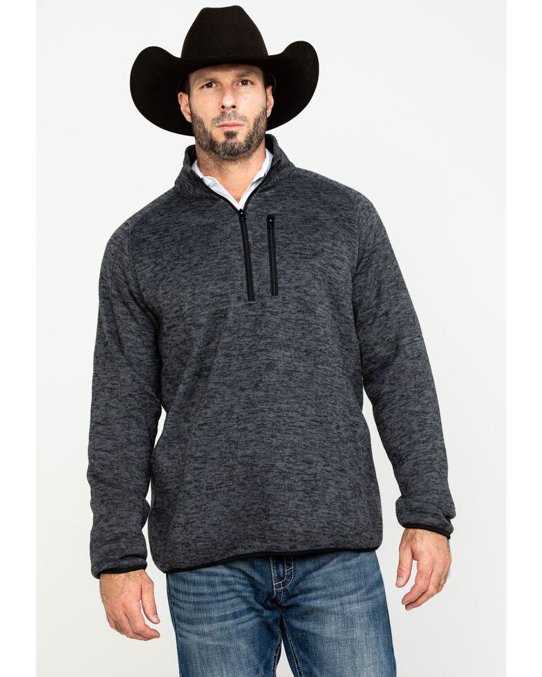 Stetson Men's Grey Bonded 1/4 Zip Front Sweater, Grey, hi-res