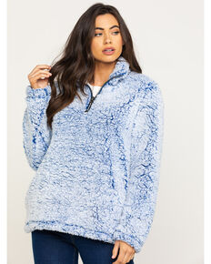 Roper Women's Blue Fuzzy Pullover , Blue, hi-res