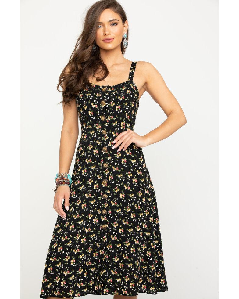 Nikki Erin Women's Bouquet Ditsy Button Midi Dress, Black, hi-res