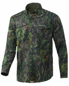 Nomad Men's Shadowleaf Mossy Oak Camo Print Stretch-Lite Long Sleeve Button-Down Hunting Shirt , Camouflage, hi-res