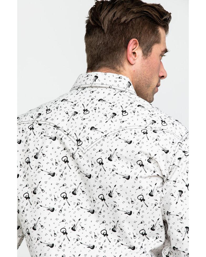 Rock & Roll Denim Men's Washed Guitar Print Long Sleeve Western Shirt , Black, hi-res