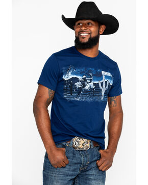 Rock & Roll Cowboy Men's Desert Bronc Rider Short Sleeve T-Shirt, Navy, hi-res
