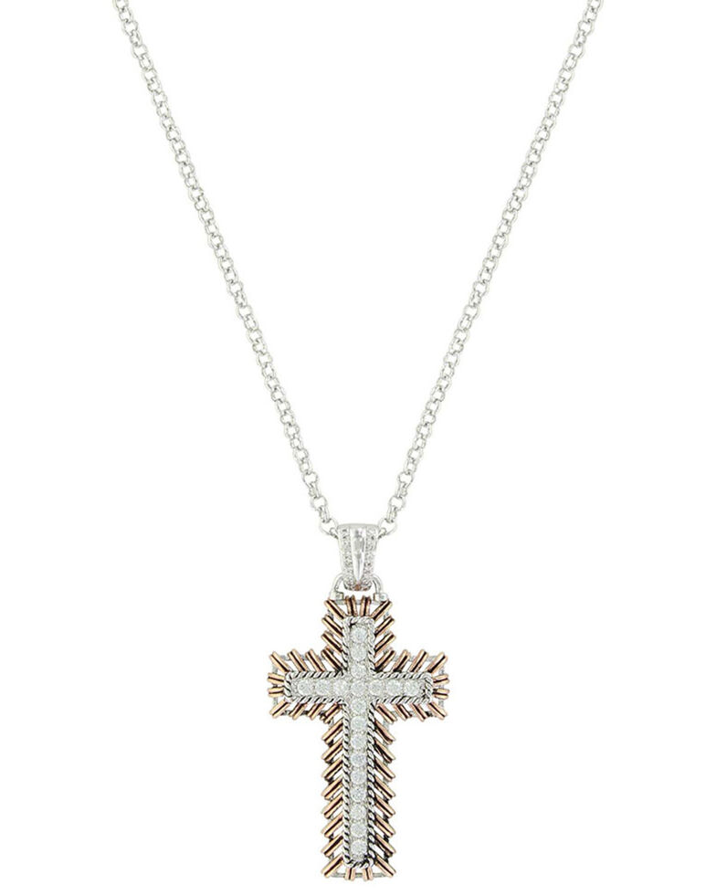 Montana Silversmiths Women's Rose Gold Buck Stitch Cross Necklace, Silver, hi-res