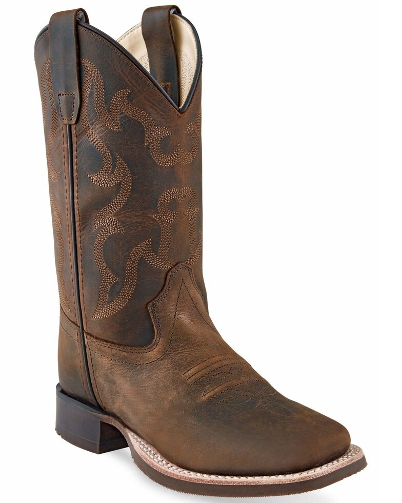 Old West Boys' Brown Western Boots - Wide Square Toe, Brown, hi-res
