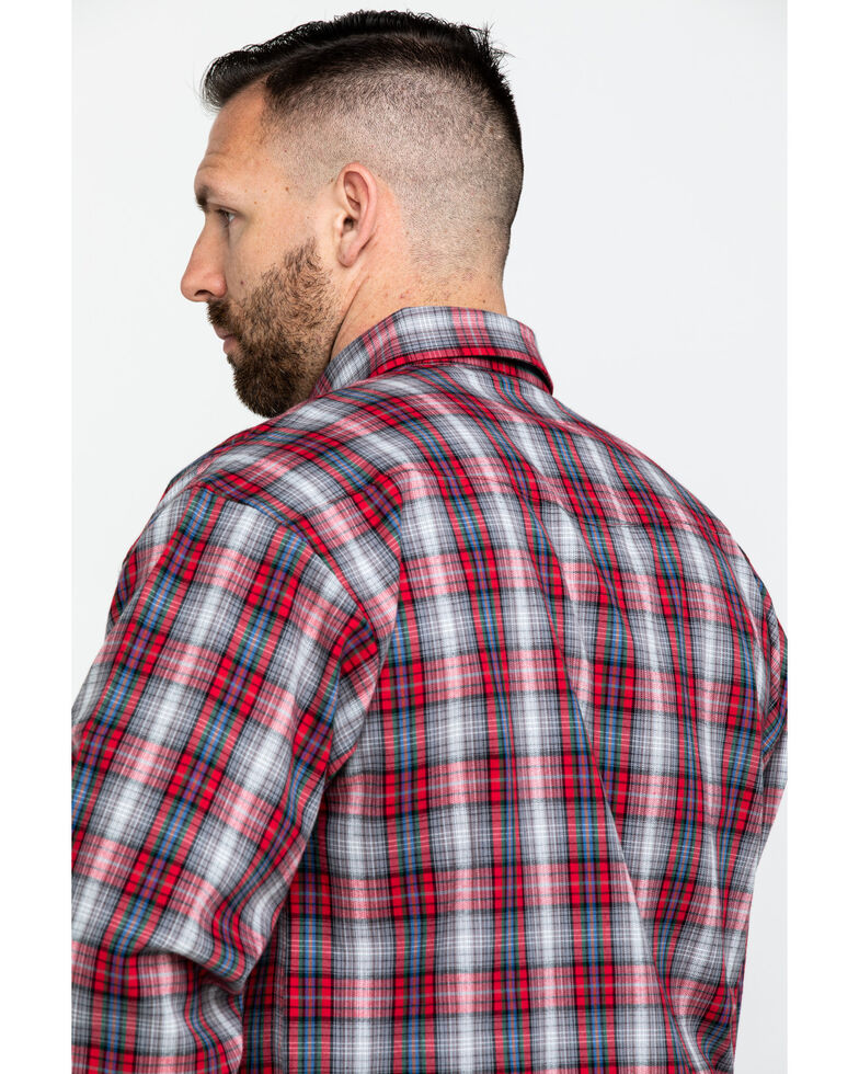 Powder River Outfitters Men's Brushed Twill Plaid Flannel Shirt , Red, hi-res