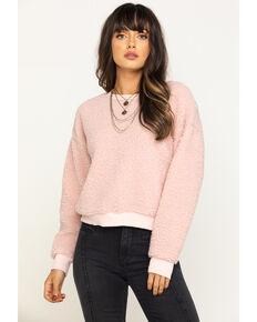 Eyeshadow Women's Fuzzy Sweatshirt , Pink, hi-res