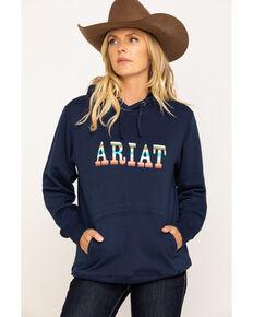 Ariat Women's Navy R.E.A.L. Serape Logo Hoodie, Navy, hi-res
