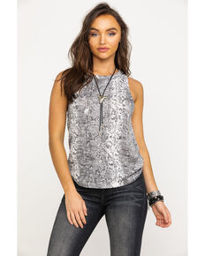 Z Supply Women's Snake Print Tank Top, Grey, hi-res