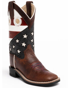 Cody James Youth Boys' American Flag Western Boots - Square Toe, Red/white/blue, hi-res