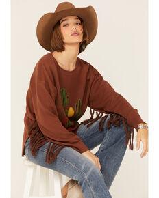 Joseph Studio Women's Brown Cactus Print Fringe Pullover Sweater , Brown, hi-res