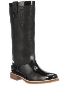 Lucchese Women's Black Waterproof Rain Boots - Round Toe, Black, hi-res