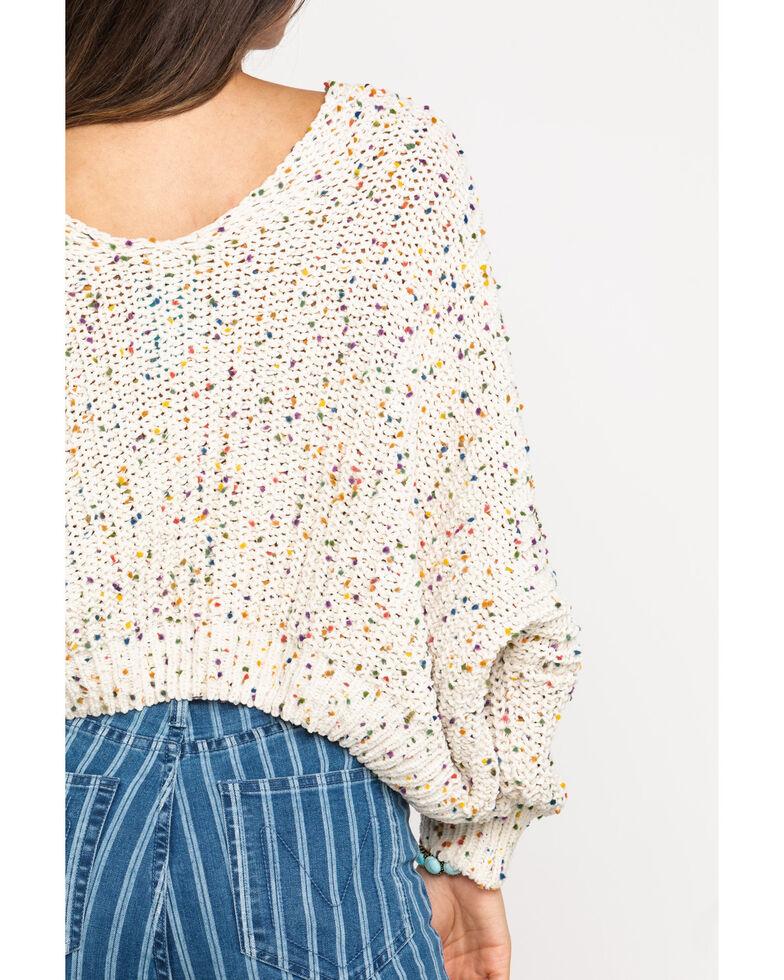 Pol Women's Ivory Speckle V-Neck Sweater , Multi, hi-res