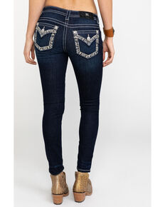 Miss Me Women's Cuffed Flap Pocket Dark Skinny Jeans , Blue, hi-res