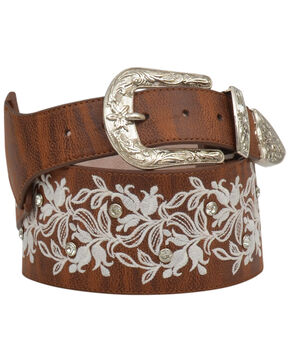 Angel Ranch Women's Embroidered Floral Belt, Brown, hi-res
