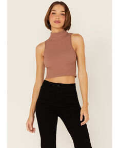 By Together Women's Sleeveless Ribbed Mock-Neck Crop Top , Lt Brown, hi-res