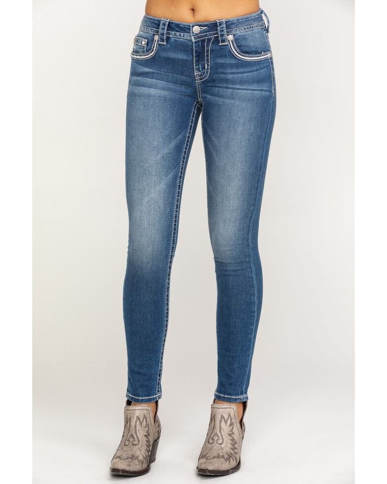 Miss Me Women's Medium Floral Wing Skinny Jeans, Blue, hi-res