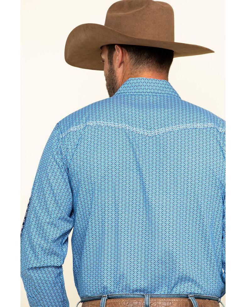 Cowboy Hardware Men's Royal Overlap Geo Print Long Sleeve Western Shirt , Royal Blue, hi-res