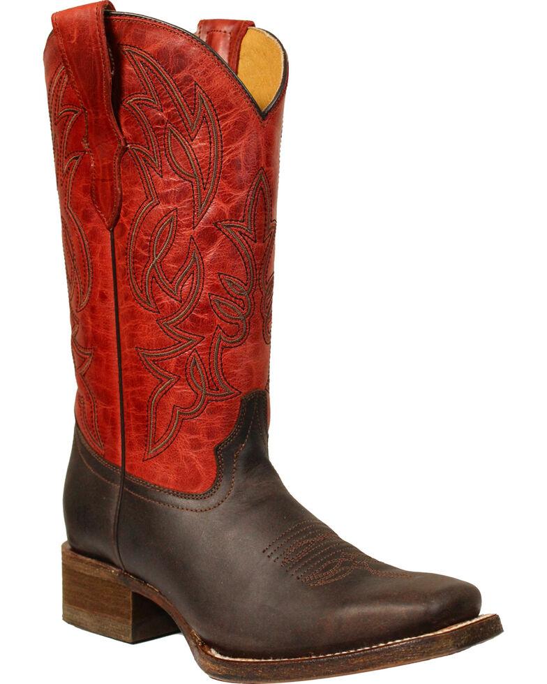 4b3315b2e8b Corral Boys' Brown & Red Cowboy Boots - Square Toe