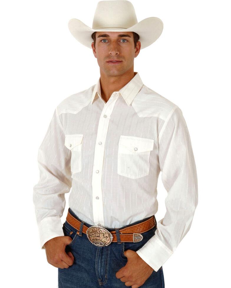 Roper Men's Tone On Tone Long Sleeve Western Shirt, Cream, hi-res