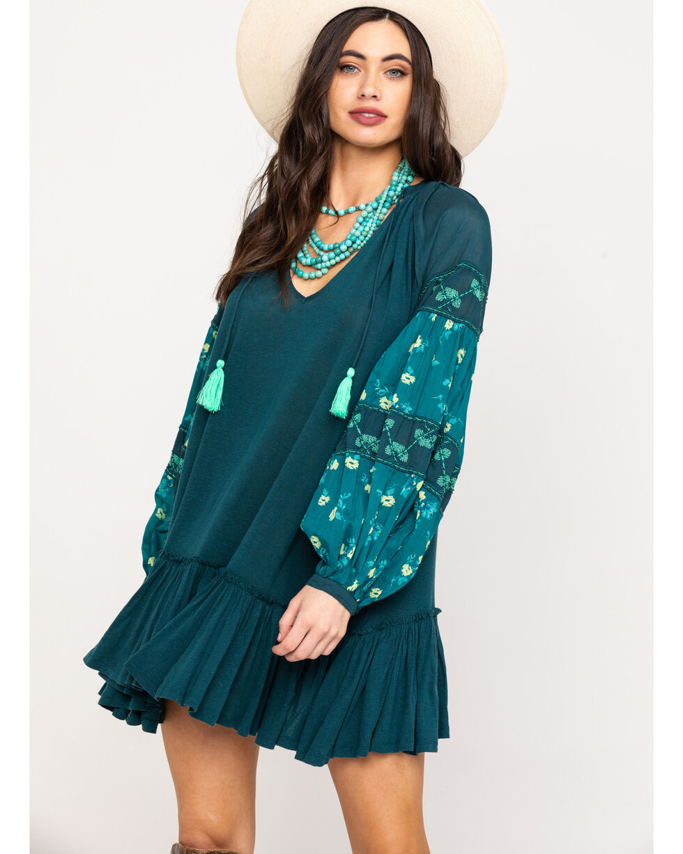 Free People Women's Mix It Up Tunic, Green, hi-res
