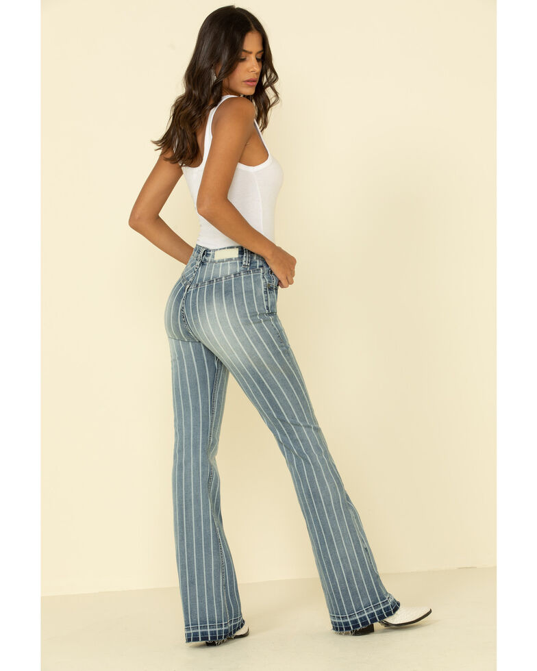 Rock & Roll Denim Women's High Rise Stripe Trouser, Blue, hi-res