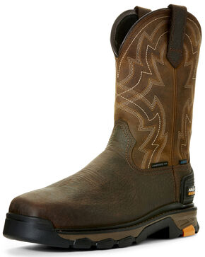 Ariat Men's Intrepid Force Waterproof Western Work Boots - Composite Toe, Brown, hi-res