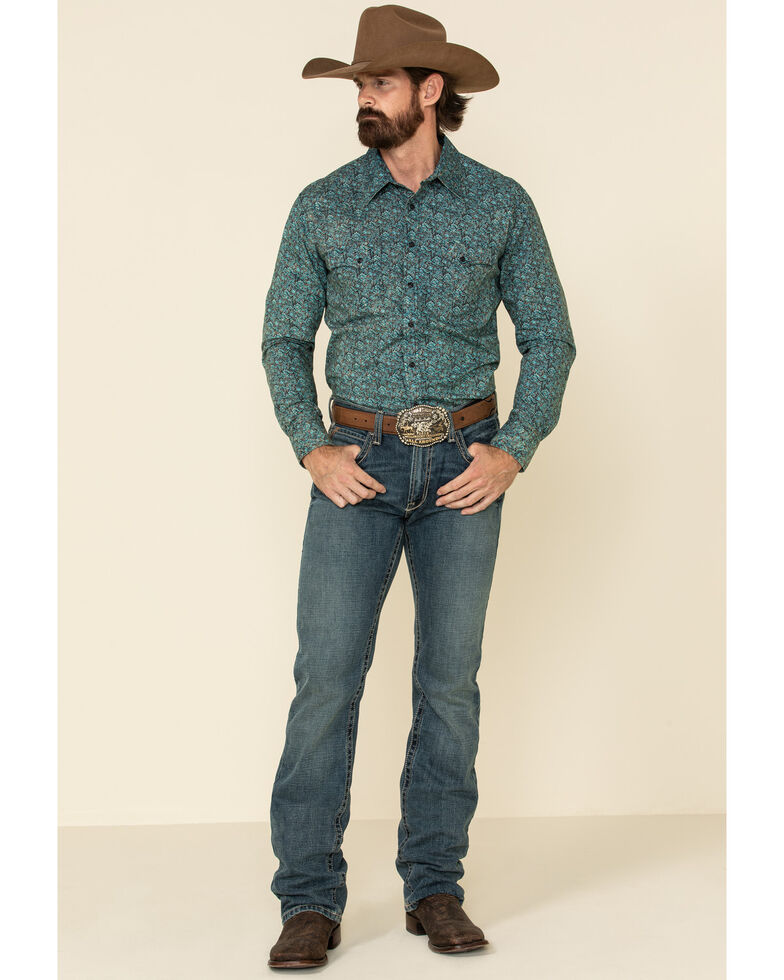 Rock & Roll Denim Men's Turquoise Floral Print Long Sleeve Western Shirt , Turquoise, hi-res