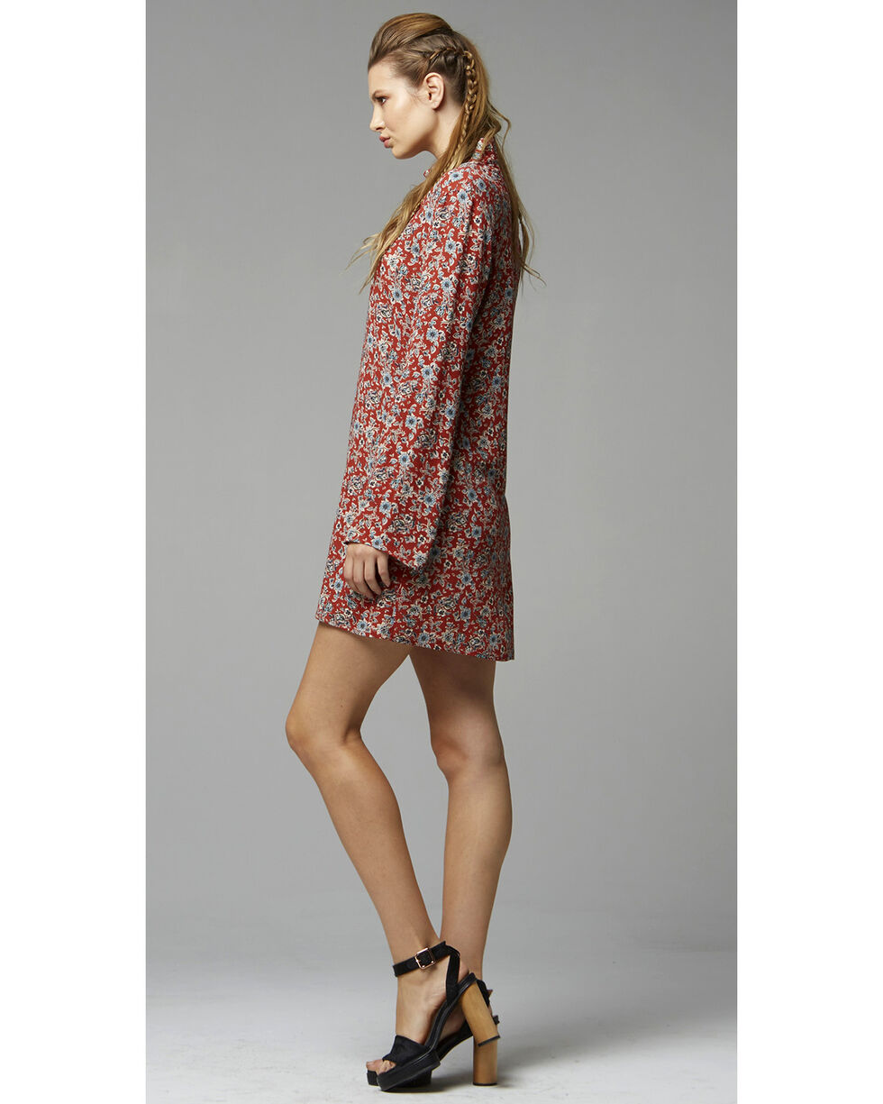 Glam Women's Rust Floral Cut Out Trapeze Dress , Rust Copper, hi-res