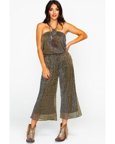 Dance & Marvel Women's Plated Wide Leg Tube Jumpsuit , Gold, hi-res