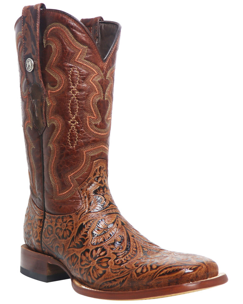 Tanner Mark Men's Tooled Print Western Boots - Square Toe, Brown, hi-res