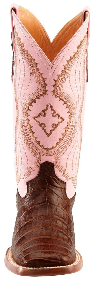 Ferrini Blush Pink Caiman Belly Cowgirl Boots - Wide Square Toe, , hi-res