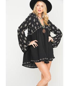 MI. OH. MI. Women's Flare Sleeve Embroidered Dress, Black, hi-res
