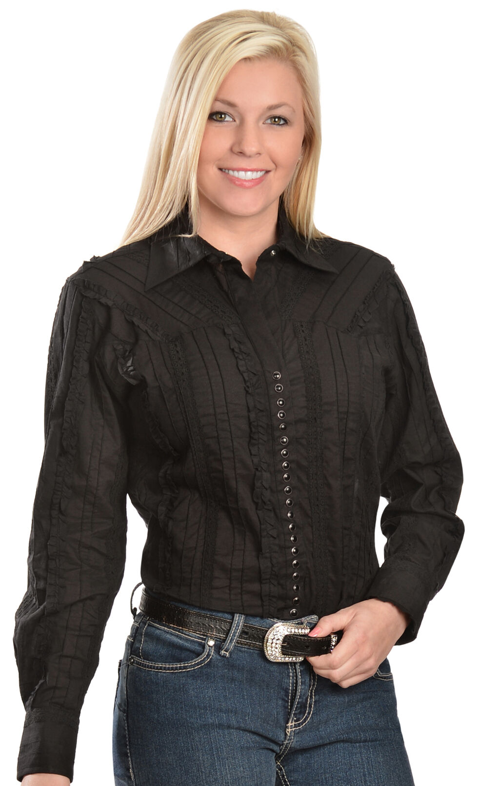 Scully Tone-on-Tone Lace Top, Black, hi-res