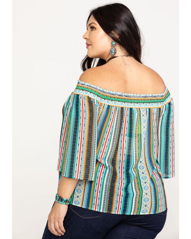 Flying Tomato Women's Off The Shoulder Aztec Print Top - Plus, Multi, hi-res