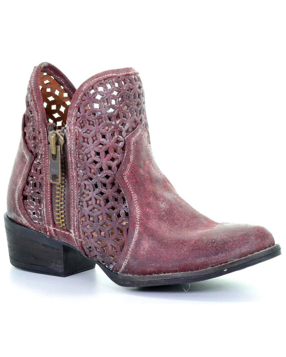 Circle G by Corral Women's Wine Cutout Booties - Round Toe , Wine, hi-res