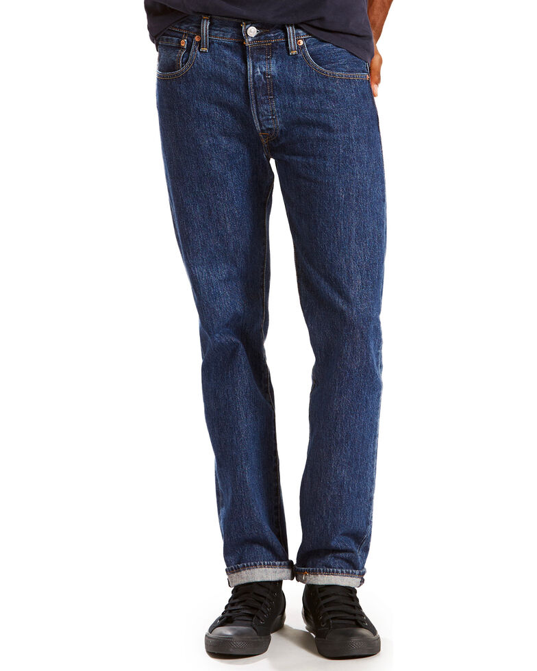 Levi's Men's 501 Dark Blue Original Straight Leg Jeans , Dark Blue, hi-res