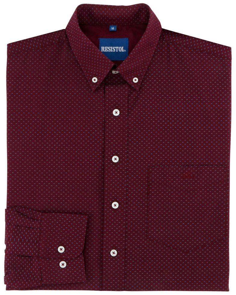 Resistol Men's Maury Geo Print Long Sleeve Western Shirt , Dark Red, hi-res