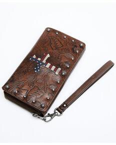 Shyanne Women's Embossed Americana Cross Wallet, Brown, hi-res