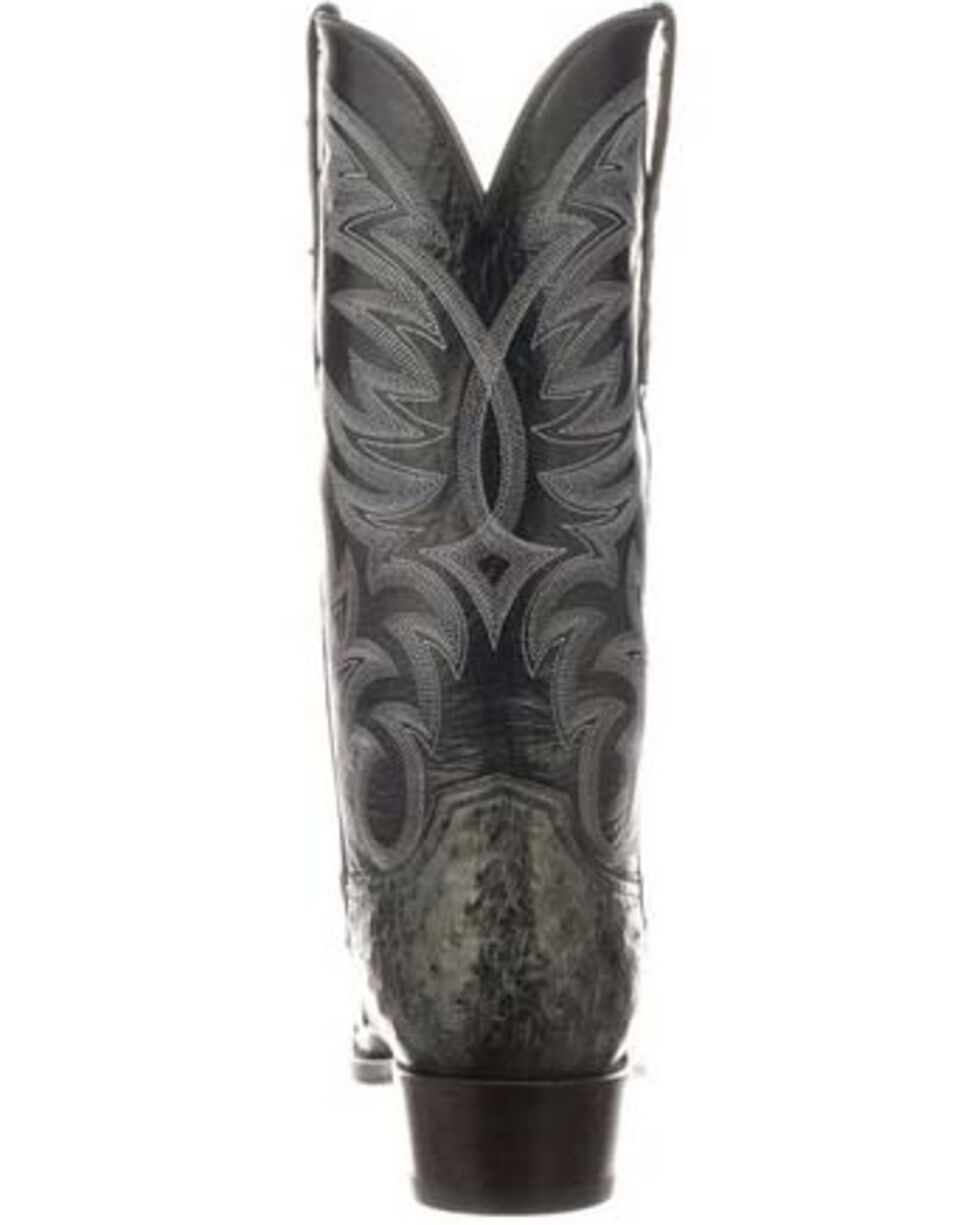 Lucchese Men's Hugo Full Quill Ostrich Western Boots - Square Toe, Dark Grey, hi-res